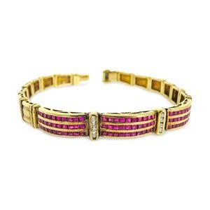 Jewelry - 14 Karat Vintage Diamond and Ruby Ladies Bracelet